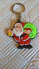 father Christmas with bell rubber keyring