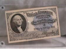 1893 COLUMBIAN  EXPOSITION  WASHINGTON TICKET