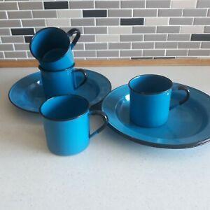 4 Vintage Blue Enamel Plates/Dishes with matching Mugs  - Kitchenalia