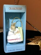 New Listing1989 Beatrix Potter Mrs Rabbit Baby Bed Christmas Ornament Cotton Tail Pretty
