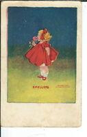 AY-072 - Smelling, Little Girl Smelling Flower, 1907-1915 Golden Age Postcard