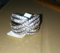 Two Tone Sterling Silver & 9k Gold Ring size R 1/2  With CZ