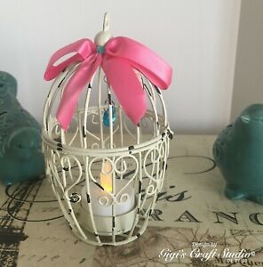"""Small Metal BIRD CAGE Off White - Hot Pink & Aqua accents 5 3/4"""" Tall"""
