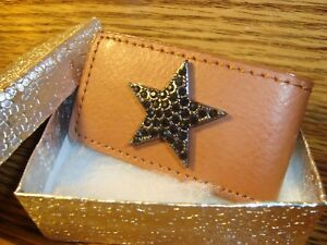 BLACK STAR Money Clip Rhinestone Design BUCHANAN'S DELUXE Faux Leather Magnetic