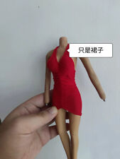 """1/6 Scale Female Soldier Red Ice Silk Dress Model for 12"""" Action Figure Doll"""