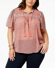 LUCKY BRAND Women's Plus Trendy Boho Printed Short-Sleeve Peasant Blouse Size 2X