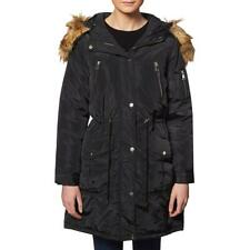 Bebe Faux Fur Anorak Coat for Women-Cinched Waist Warm Quilted Winter Jacket