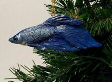 "Slavic Treasures Blue Fighting Fish Christmas Resin Ornament 4"""