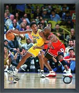"Kobe Bryant & Michael Jordan NBA Action Photo (Size: 9"" x 11"") Framed"