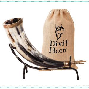 Viking Horn Drinking Beer Tankard Iron Stand Medieval Mug Dragon Polished Divit