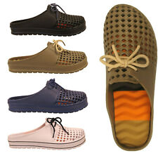 Mens Garden Clogs Sandals Beach Perforated Lace Up Slip on Flat Summer Shoes