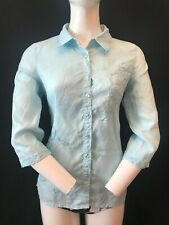 DASH Women's 100% Linen Mint Green 3/4 Sleeve Floral Embroidered Blouse UK 12
