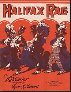 Halifax Rag 1910 Large Format Sheet Music
