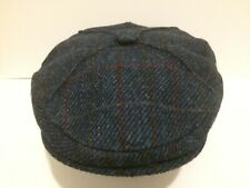 HARRIS TWEED RARE 4 QUARTER PANEL BLUE FLECK RED COUNTY FLAT CAP DRIVING HAT