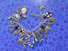 "In Wonderland SP Charm Bracelet:Alice Mirror Chess Pieces ""Drink Me"" Bottle  ++"