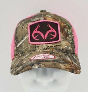 Real Tree Ladies Fit Camouflage & Pink Trucker Hat OSFM