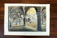 Vintage National Museum Florence Italy Bargello Art Drawing Print Signed Sketch