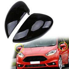 2Pcs Left Right Black Wing Mirror Cover Cap Painted For Ford Fiesta 08-17 EA17LN