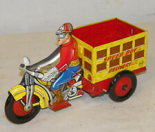 Antique Marx Tin Wind Up Boy Delivery Motorcycle Toy