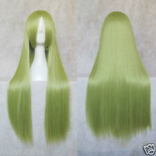 """31""""LONG LIGHT YELLOW GREEN STRAIGHT UNIVERSAL COS PARTY WIG + gift"""