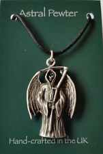 Grey Pewter Grim Reaper Angel of Death Gothic cord necklace