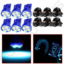 6Pcs Ice Blue T10 Instrument Panel Gauge LED Light Bulb + Twist Lock Sockets