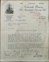 Norwich Union Fire Insurance Society Ltd. Friar Lane, Nottingham Letter 1940