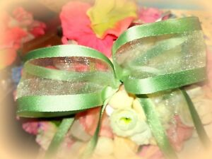"2M Pale Apple Green Organza WIRED WIRE EDGED RIBBON -  1.5"" Birthdays Weddings"