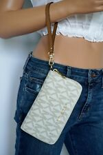 Michael Kors Vanilla MK Signature PVC Leather Large Phone Case Wallet Wristlet