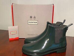 New in Box HUNTER Womens Size 8 Dark Olive Green Rubber Gloss Chelsea Rain Boots