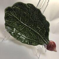 Vintage Olfaire Majolica Radish Leaf 10 Inch Serving Dish/ Portugal / 478/1