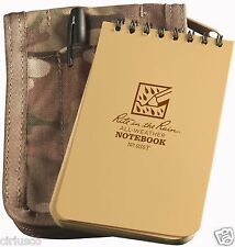 """Multicam """"Rite in the Rain"""" 3""""x5"""" Tactical Tan Notebook Kit with Cover & Pen"""