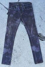 APRIL 77 JOEY Thunder JEANS 27 X 32 Slim Skinny Purple Black Tie Dye Stretch