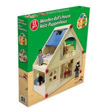 Komplettes Holzpuppenhaus mit Puppen und Möbeln - NEU und OVP