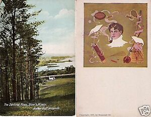 2 VERY OLD POSTCARDS WITH GOLFING
