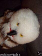 PLUSH DOLL FIGURE REALISTIC LIFELIKE  WHITE SNOW OWL SOFT YELLOW EYED TOY ANIMAL