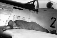 WWII Photo P-51 Mustang Crew Chief Sleeps on Wing WW2 World War Two USAAF