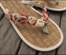 Ladies Ivory or Black Straw Flip Flops with Chiffon Rose Trim