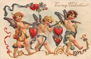 H66/ Valentine's Day Love Holiday Postcard c1910 Glitter Cupids Hearts 4