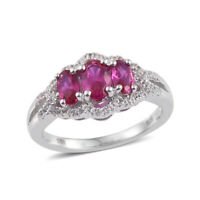 Created Ruby Created Sapphire Statement Ring 925 Sterling Silver Gift Size 6.75