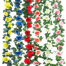 4pcs 8Ft Artificial Fake Silk Rose Flower Ivy Vine Garland Wedding Party Decor