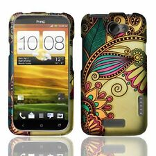 Design Rubberized Hard Case for HTC One X - Antique Flower