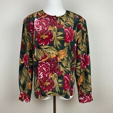 Vintage Tess Blouse Top 12 Floral Button Up Front Long Sleeve Bold Multi Womens