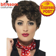 W457 Rizzo Brown Curly Wig Grease Licensed Ladies 1950s Grease Costume Accessory