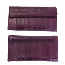 Genuine Eel Skin Leather Woman Long Wallet Trifold Purse Purple