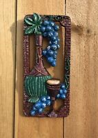 Vintage Wall Hanging Wine Bottle, Wine Glass, Grapes in Maroon, Blue, Green
