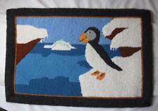 Antique Grenfell Rug Puffin Bird Arctic Hand Made Newfoundland Canada Rare