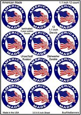 12 - 1 Inch American Made Decals Stickers. Laminated, High Quality.