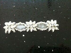 2 Iron On Glass Crystal Applique Bridal Wedding Trim Belt Sash Rhinestone Motif