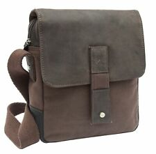 Wombat Unisex Waxed Thick Canvas and Leather Crossbody Bag Shoulder Bag